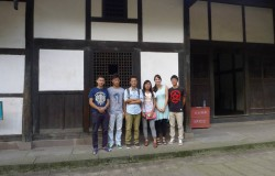 Qubi Lisan, Ma Erchu, Ma  Xiaoyang, Kaitlin Banfill, and Li Musa at Deng Xiaoping's childhood home in Guang'an