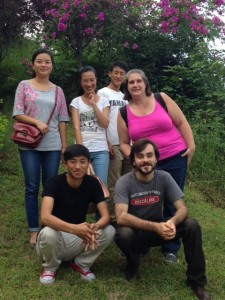 Noah, Tiffany, Xiaolan, and friends on the Xichang College Campus