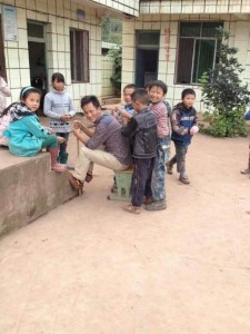 Ma Xiaoyang with his students in Leibo