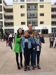With Ma Xiaolan and two of her students